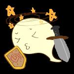 フリー素材 お化け(剣士・大剣)気絶