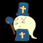 ゲーム用フリー素材_お化け僧侶_ピンチイラスト