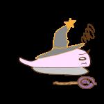 フリー素材 お化け(ピンク・超魔法使い)横逃げ