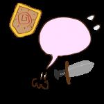フリー素材 お化け(ピンク・剣士)逃げ