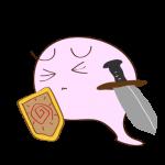 フリー素材 お化け(ピンク・剣士)ダウン