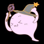 フリー素材 お化け(ピンク・超魔法使い)ガッツポーズ