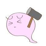 フリー素材 おばけ(ハンマー)ピンチ