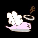フリー素材 お化け(ピンク・天使)横逃げ