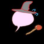 フリー素材 お化け(ピンク・魔法使い)逃げ