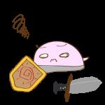 フリー素材 お化け(ピンク・剣士)倒れ