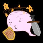 フリー素材 お化け(ピンク・剣士)気絶