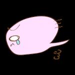 フリー素材-お化け(ピンク)左泣きダッシュ