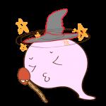 フリー素材 お化け(ピンク・魔法使い)気絶