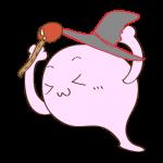 フリー素材 お化け(ピンク・魔法使い)ガッツポーズ