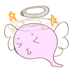 フリー素材 お化け(ピンク・天使)気絶