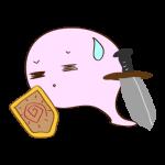 フリー素材 お化け(ピンク・剣士)汗