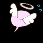 フリー素材 お化け(ピンク・天使)逃げ