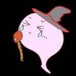 フリー素材 お化け(ピンク・魔法使い)ダメージ
