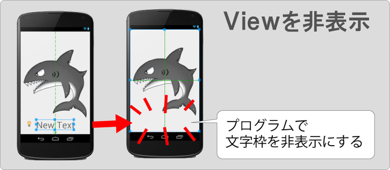 Viewの非表示【TextViewを非表示にする】