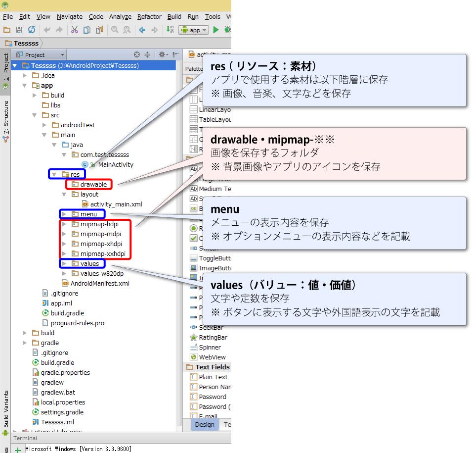 3分で学ぶAndroid Studio【 フォルダ構成 】リソースフォルダ2