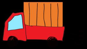 赤 【フリー素材・乗り物】 軽トラック(荷台カバー)