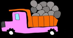 ダンプカー石載:ピンク 【 フリー素材工事車両 】