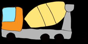 オレンジ 【フリー素材・工事車両】 ミキサー車