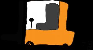 オレンジ:フォークリフト【フリー素材・働く車】