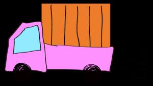 ピンク 【フリー素材・乗り物】 軽トラック(荷台カバー)