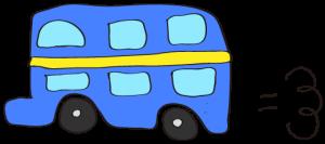 青:【乗り物フリー素材】 二階建てバス