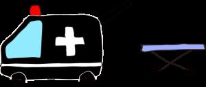 フリー素材 救急車 黒(タンカ)