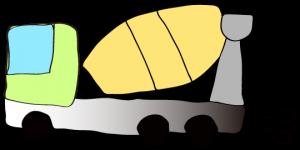 黄緑 【フリー素材・工事車両】 ミキサー車(グラデーション)