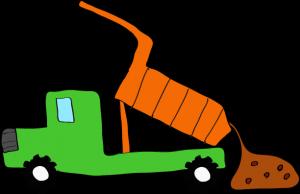 ダンプカー土砂下ろし:緑 【 フリー素材工事車両 】