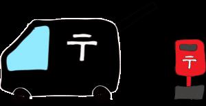 黒:郵便車(ポスト)【フリーイラスト・町の車】