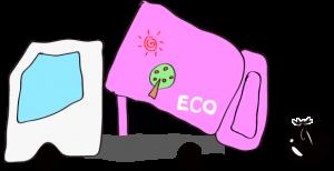ゴミ収集車 エコデザイン ピンク