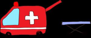 フリー素材 救急車 赤(タンカ)