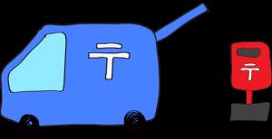 青:郵便車(ポスト)【フリーイラスト・町の車】