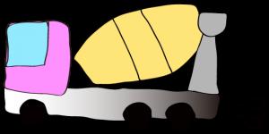 ピンク 【フリー素材・工事車両】 ミキサー車(グラデーション)