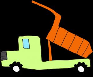 ダンプカー荷台上:黄緑 【 フリー素材工事車両 】