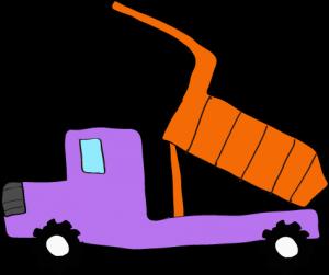 ダンプカー荷台上:紫 【 フリー素材工事車両 】