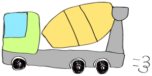 黄緑 【フリー素材・工事車両】 ミキサー車