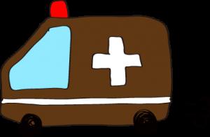 フリー素材 救急車 茶色