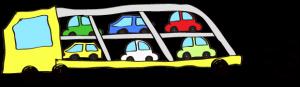 黄色:【フリー素材・ 大型車】カーキャリー(積み)