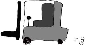 グレー:フォークリフト【フリー素材・働く車】