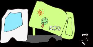 ゴミ収集車 エコデザイン 黄緑