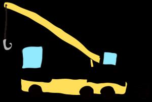 黒:【フリー素材・ 大型車】クレーン車
