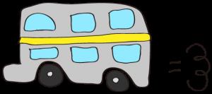 グレー:【乗り物フリー素材】 二階建てバス