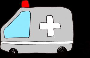 フリー素材 救急車 グレー