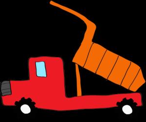 ダンプカー荷台上:赤 【 フリー素材工事車両 】