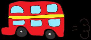 赤:【乗り物フリー素材】 二階建てバス