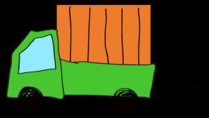 緑 【フリー素材・乗り物】 軽トラック(荷台カバー)
