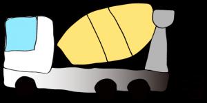 白 【フリー素材・工事車両】 ミキサー車(グラデーション)