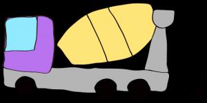 紫 【フリー素材・工事車両】 ミキサー車