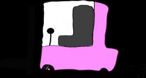 ピンク:フォークリフト【フリー素材・働く車】
